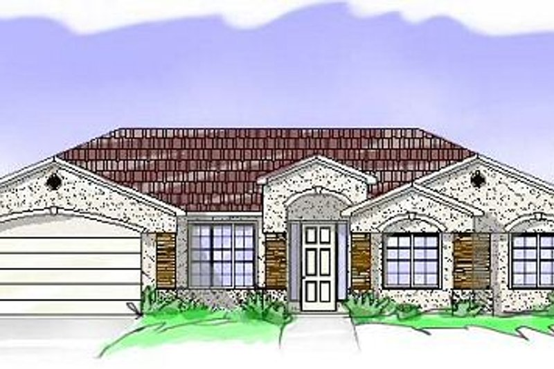 Mediterranean Style House Plan - 4 Beds 2 Baths 1804 Sq/Ft Plan #24-166 Exterior - Front Elevation