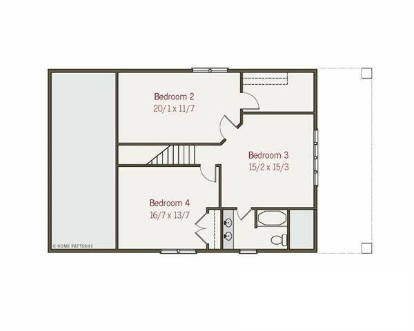 Craftsman Floor Plan - Upper Floor Plan Plan #461-16