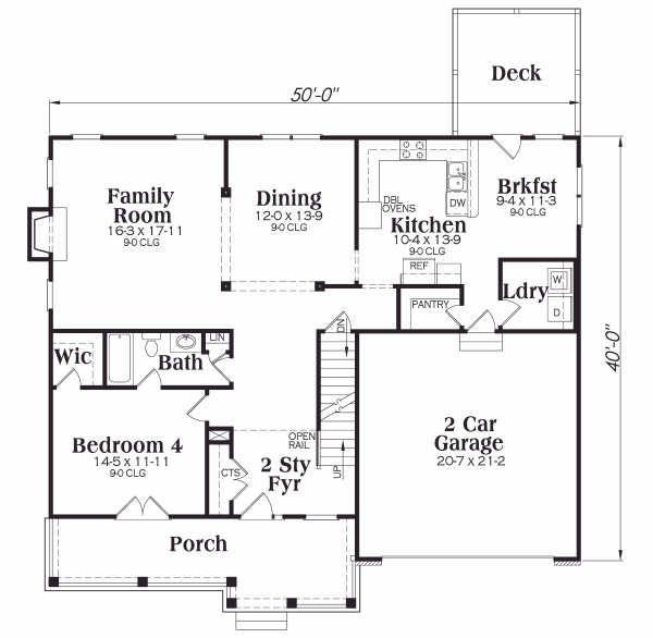 Dream House Plan - Traditional Floor Plan - Main Floor Plan #419-140
