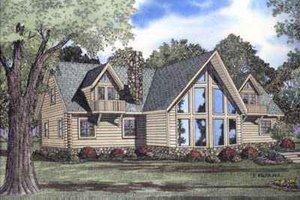 Log Exterior - Front Elevation Plan #17-465