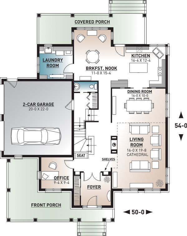 House Plan Design - European Floor Plan - Main Floor Plan #23-583