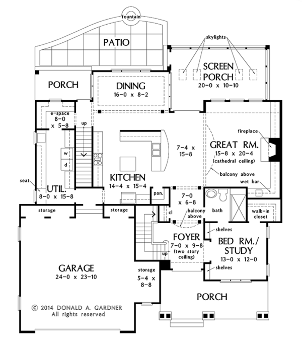 Architectural House Design - Colonial Floor Plan - Main Floor Plan #929-977