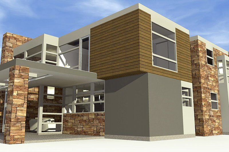 Modern Exterior - Other Elevation Plan #64-221 - Houseplans.com