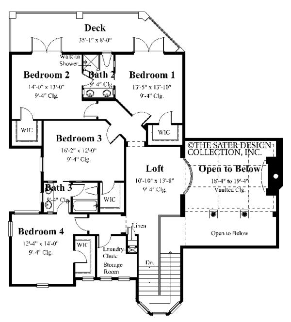 Architectural House Design - Mediterranean Floor Plan - Upper Floor Plan #930-355