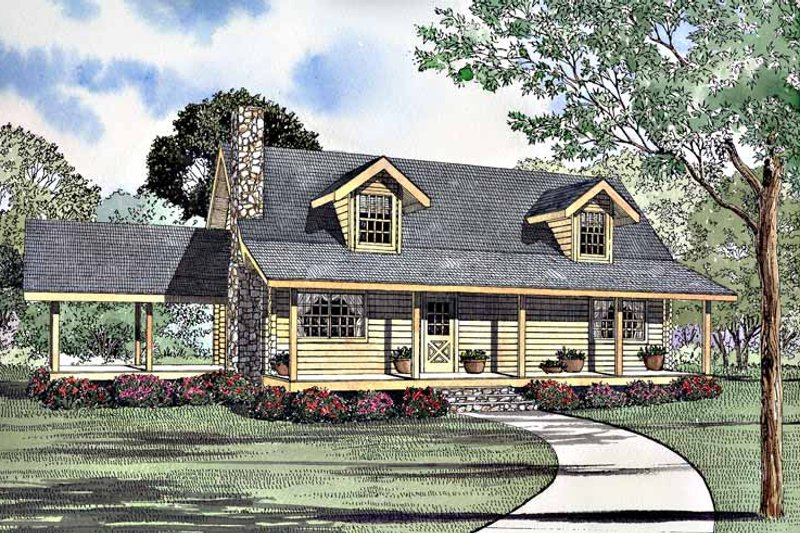 Log Exterior - Front Elevation Plan #17-3197 - Houseplans.com