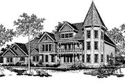 Victorian Style House Plan - 4 Beds 6 Baths 5224 Sq/Ft Plan #72-372 Exterior - Front Elevation
