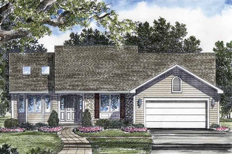 Ranch Exterior - Front Elevation Plan #316-205
