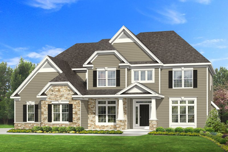 Craftsman Style House Plan - 4 Beds 2.5 Baths 2585 Sq/Ft Plan #1010-93 Exterior - Front Elevation