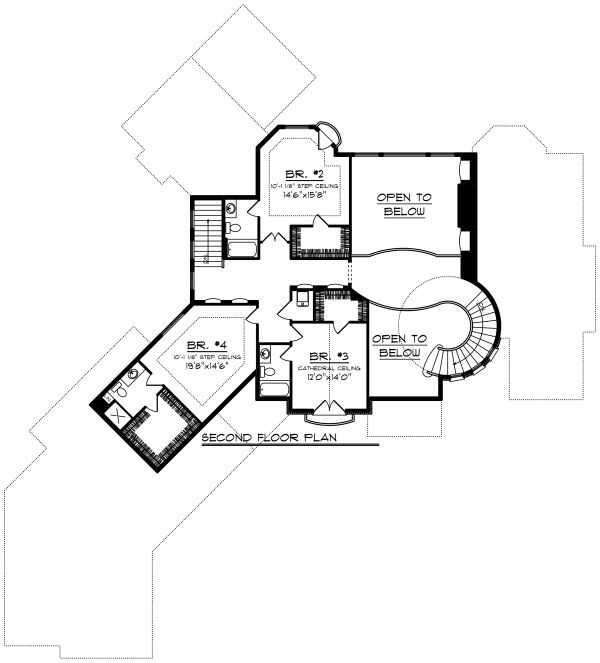 European Floor Plan - Upper Floor Plan Plan #70-1294
