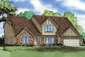 Architectural House Design - Tudor Exterior - Front Elevation Plan #405-287