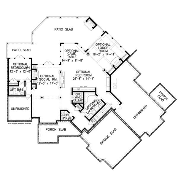 Craftsman Floor Plan - Lower Floor Plan Plan #54-376