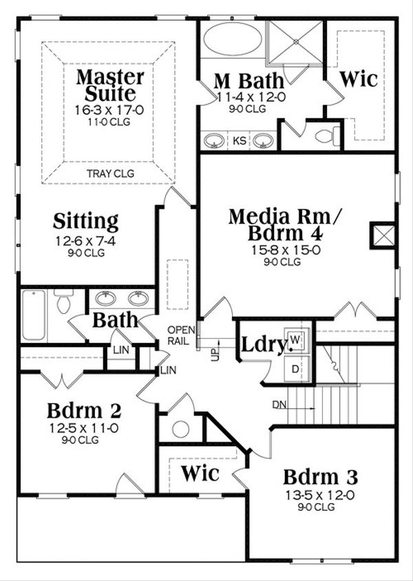 Craftsman Floor Plan - Upper Floor Plan Plan #419-260