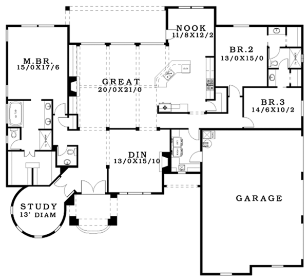 Tudor Floor Plan - Main Floor Plan Plan #943-44