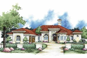 Mediterranean Exterior - Front Elevation Plan #930-61
