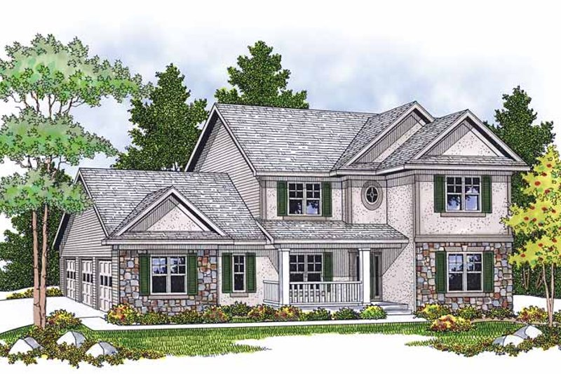 Country Exterior - Front Elevation Plan #70-1372
