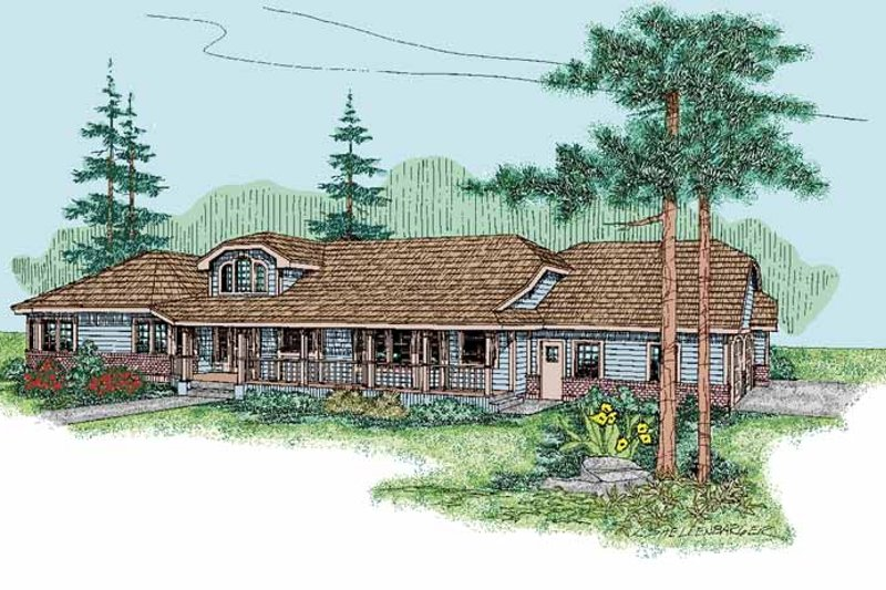 Country Exterior - Front Elevation Plan #60-829
