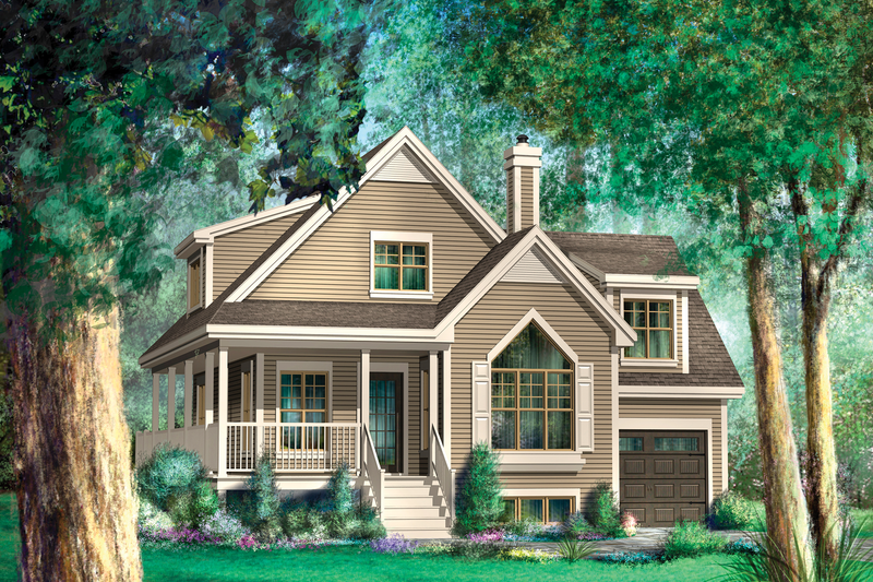 Country Style House Plan - 2 Beds 1 Baths 1637 Sq/Ft Plan #25-4584 Exterior - Front Elevation