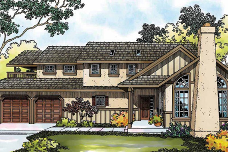 Tudor Exterior - Front Elevation Plan #124-341