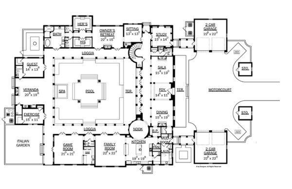 Mediterranean Floor Plan - Main Floor Plan Plan #1058-11