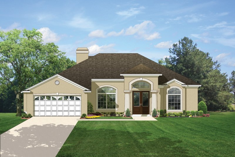 House Plan Design - Mediterranean Exterior - Front Elevation Plan #1058-42