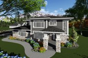 Prairie Style House Plan - 3 Beds 2.5 Baths 2943 Sq/Ft Plan #70-1283 Exterior - Front Elevation