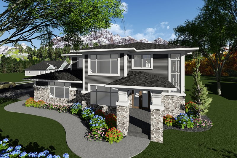 Prairie Exterior - Front Elevation Plan #70-1283