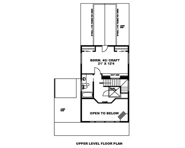 Architectural House Design - Cabin Floor Plan - Upper Floor Plan #117-901