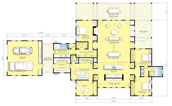 Farmhouse style plan 888-1 main floor