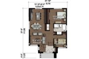 Contemporary Style House Plan - 2 Beds 1 Baths 1075 Sq/Ft Plan #25-4323 Floor Plan - Main Floor Plan