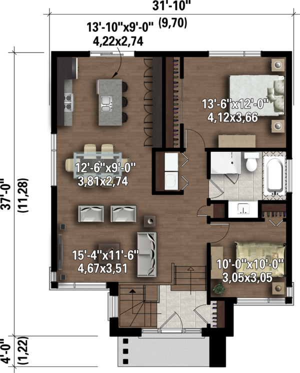 Contemporary Floor Plan - Main Floor Plan Plan #25-4323