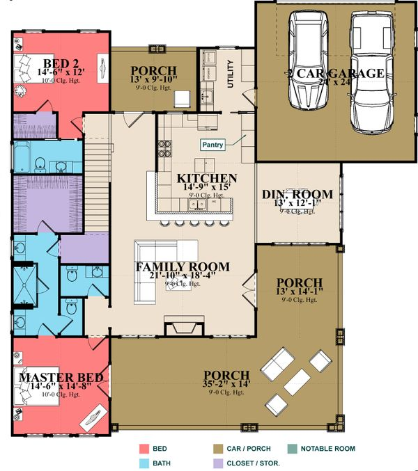 Craftsman Floor Plan - Main Floor Plan Plan #63-429