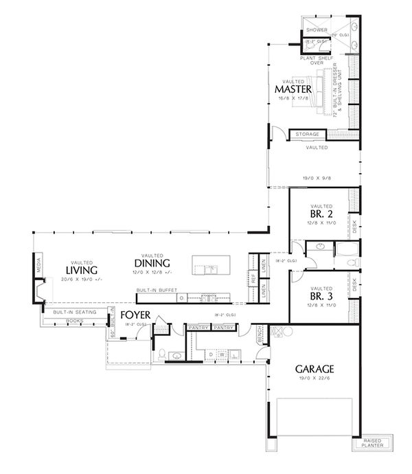 Modern 2500 square foot 3 bedroom 2 1/2 bath house plan