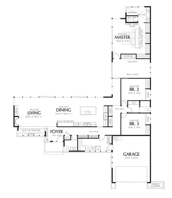 Home Plan - Modern 2500 square foot 3 bedroom 2 1/2 bath house plan