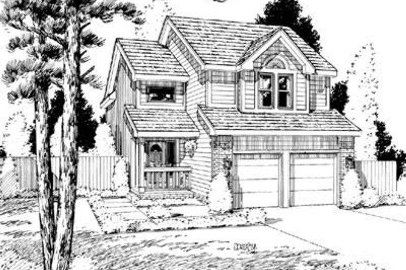 Traditional Style House Plan - 3 Beds 2.5 Baths 1818 Sq/Ft Plan #20-566 Exterior - Front Elevation
