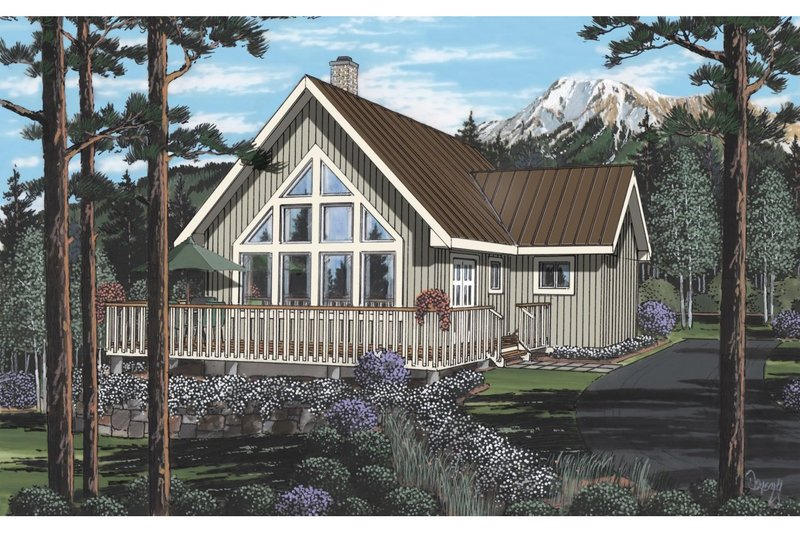 Cabin Style House Plan - 2 Beds 2 Baths 1378 Sq/Ft Plan #126-219