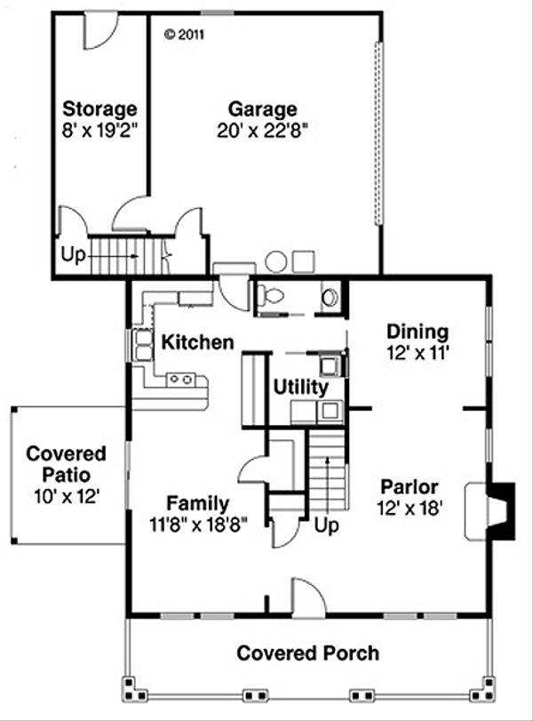 Craftsman Floor Plan - Main Floor Plan Plan #124-204