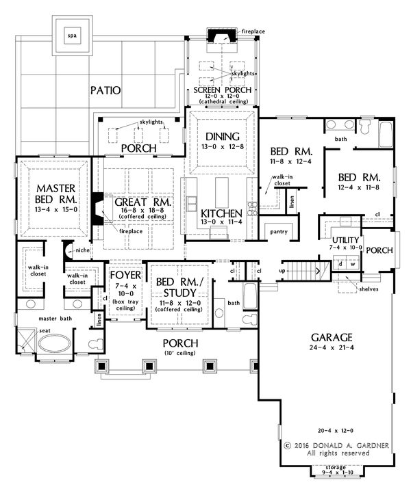 Craftsman Floor Plan - Main Floor Plan Plan #929-1025