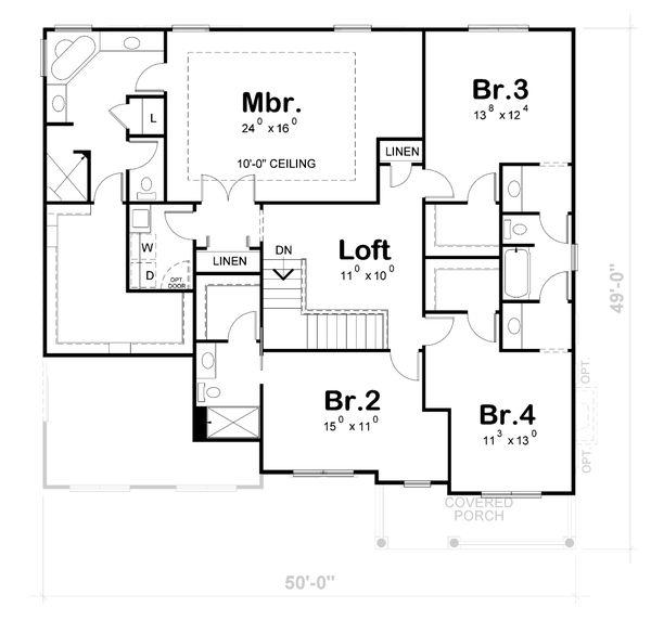 Traditional Floor Plan - Upper Floor Plan #20-2422