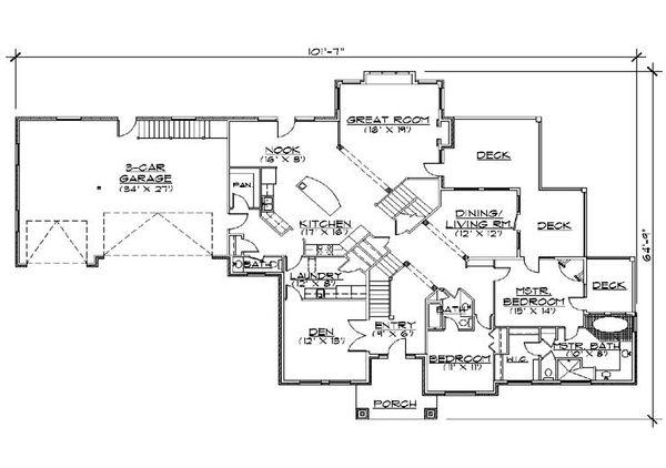 House Plan Design - European Floor Plan - Main Floor Plan #5-434