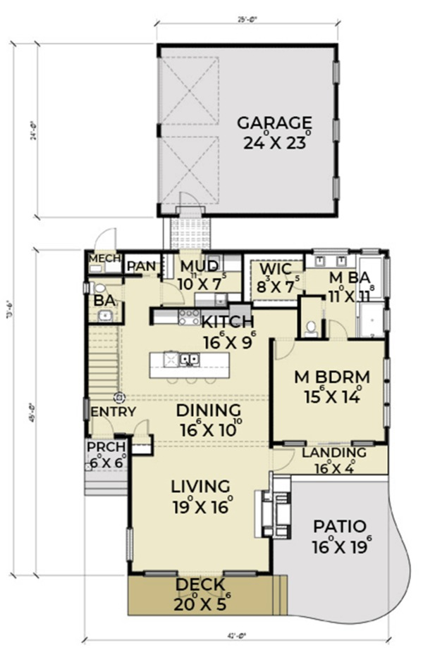 Contemporary Floor Plan - Main Floor Plan Plan #1070-14