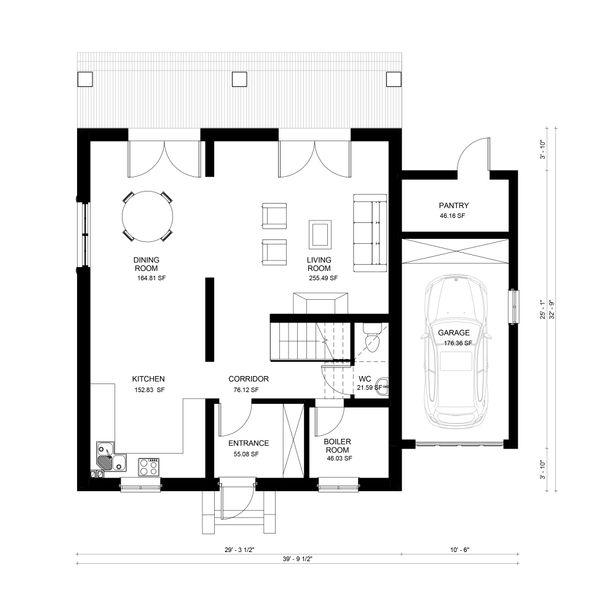 European Floor Plan - Main Floor Plan Plan #906-6