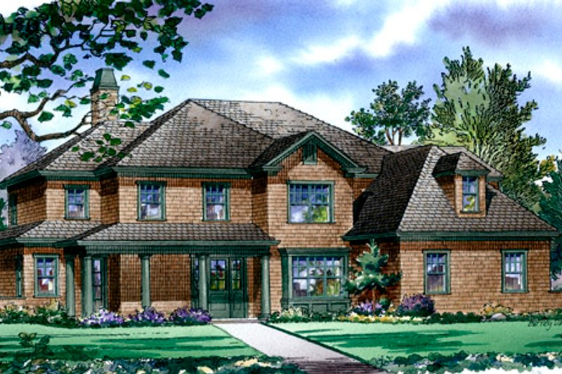 Traditional Style House Plan - 4 Beds 4.5 Baths 4311 Sq/Ft Plan #490-14 Exterior - Front Elevation