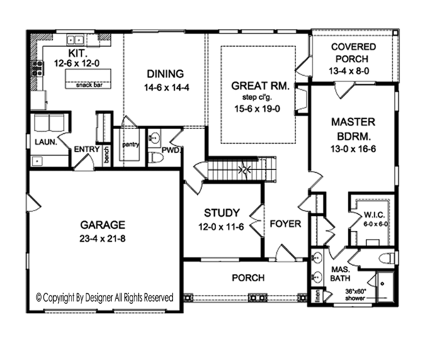 House Plan Design - Country Floor Plan - Main Floor Plan #1010-153