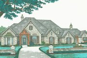 European Style House Plan - 4 Beds 3.5 Baths 3423 Sq/Ft Plan #310-331 Exterior - Front Elevation