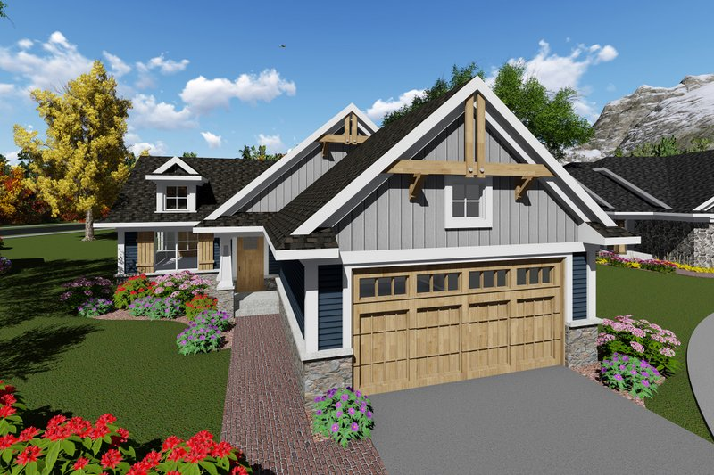 Craftsman Style House Plan - 2 Beds 1 Baths 1069 Sq/Ft Plan #70-1257 Exterior - Front Elevation