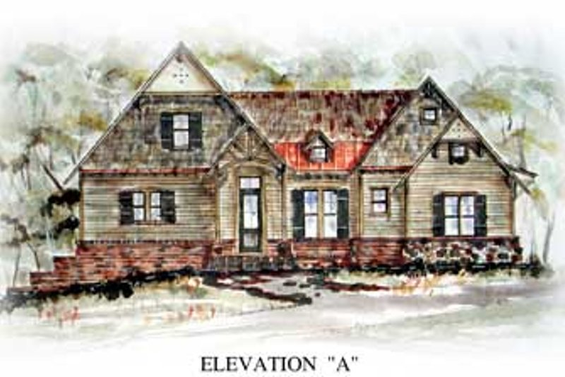 Cottage Exterior - Front Elevation Plan #54-137