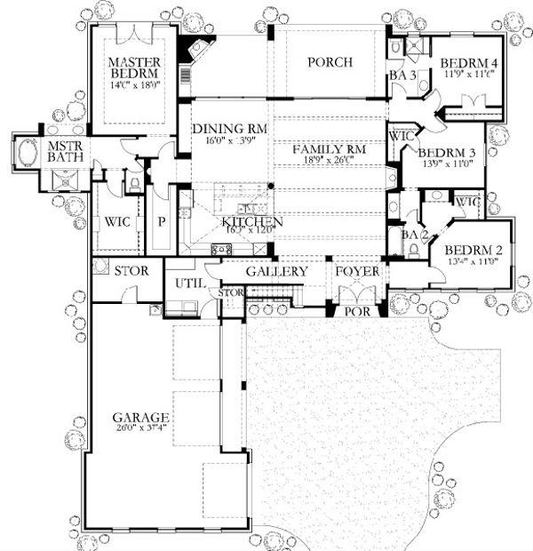 Mediterranean Style House Plan - 5 Beds 4 Baths 3411 Sq/Ft Plan #80-197 Floor Plan - Main Floor Plan