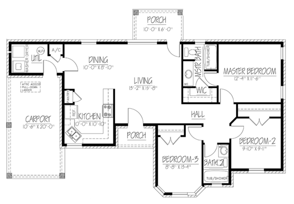 Ranch Floor Plan - Main Floor Plan Plan #1061-20