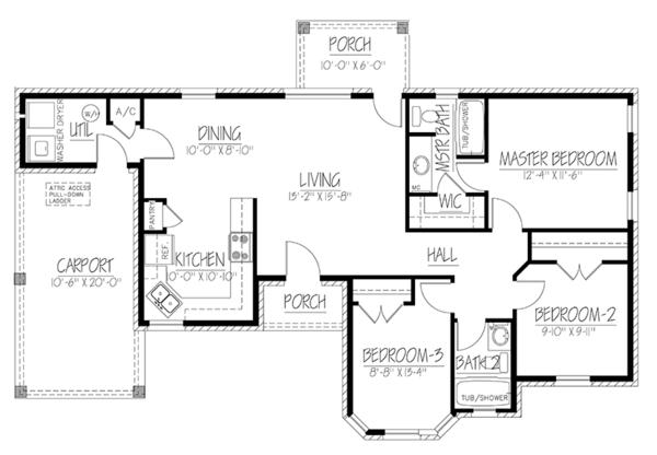 House Plan Design - Ranch Floor Plan - Main Floor Plan #1061-20