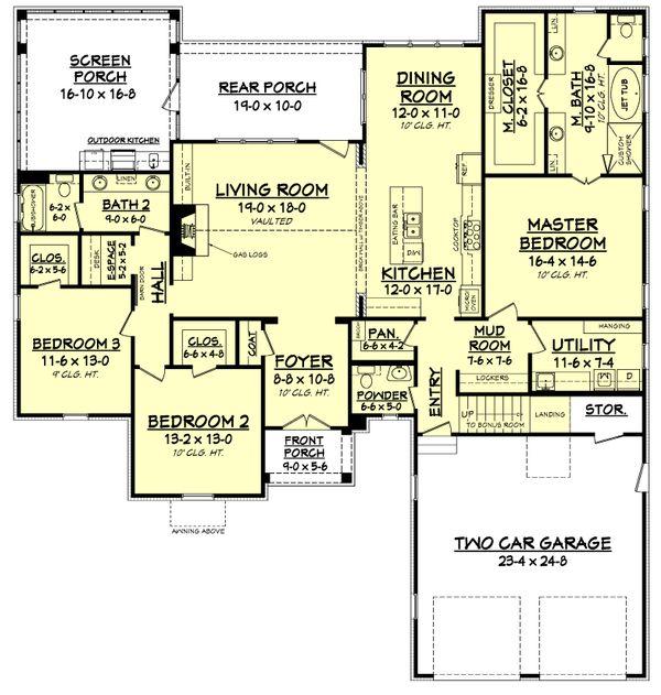 Farmhouse Floor Plan - Main Floor Plan Plan #1067-1